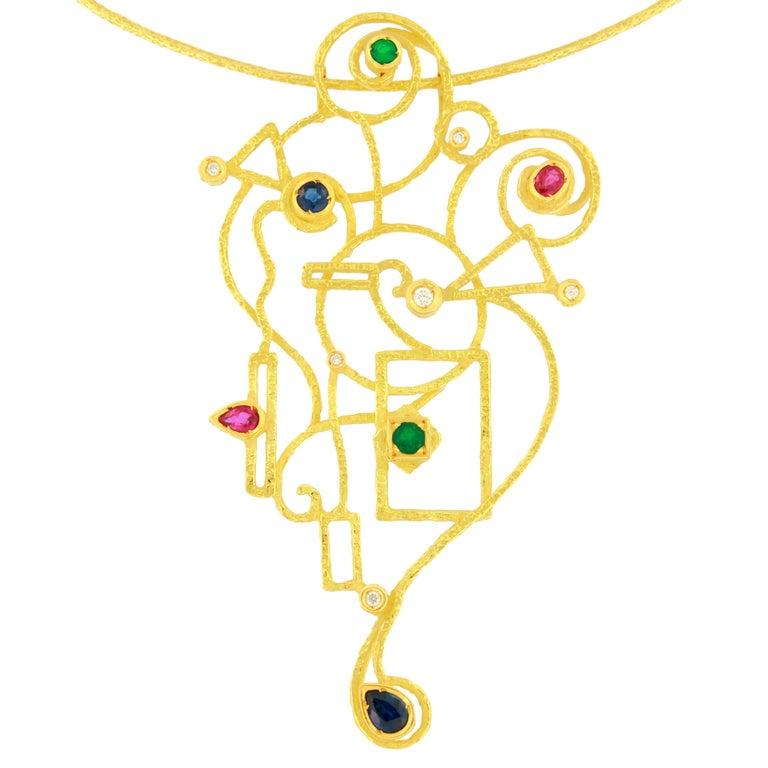 "Sacchi ""Klimt"" Multi-Color Precious Gemstones 18 Karat Yellow Gold Necklace"