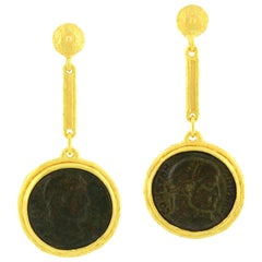 Sacchi Ancient Roman Coin 18 Karat Satin Yellow Gold Dangle Earrings
