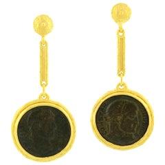 Sacchi Ancient Roman Coin 18 Karat Yellow Gold Dangle Earrings