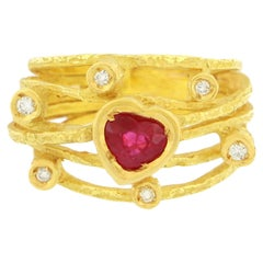 Sacchi Large Heart Ruby and Diamonds Gemstone 18 Karat Yellow Gold Cocktail Ring
