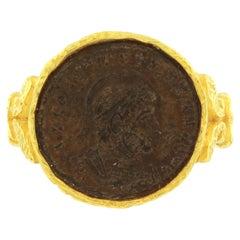 Sacchi Ancient Roman Coin Ring 18 Karat Satin Yellow Gold