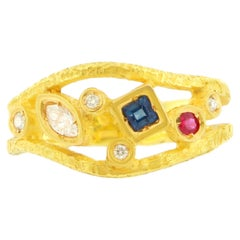 Sacchi Multi-Color Precious Gemstones 18 Karat Satin Yellow Gold Cocktail Ring