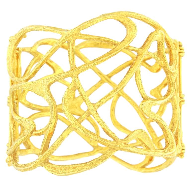 Sacchi Art Deco Wire Cuff Bracelet 18 Karat Satin Yellow Gold