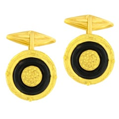 Sacchi Black Onyx Gemstone 18 Karat Yellow Gold Round Cufflinks