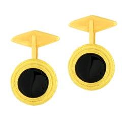 Sacchi Black Round Onyx Gemstone 18 Karat Yellow Gold Round Cufflinks