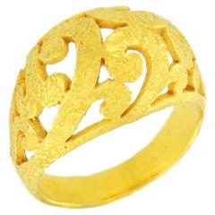 Sacchi  18 Karat Satin Yellow Gold Art Deco Curlicue Style Fashion Ring