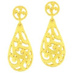 Sacchi Art Deco Curlicue Style 18 Karat Satin Yellow Gold Drop Earrings