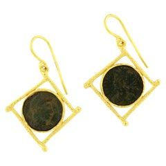 Sacchi Ancient Roman Coin 18 Karat Satin Yellow Gold Earrings