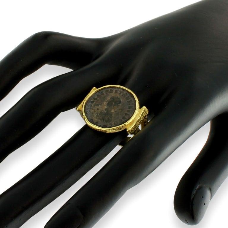 Sacchi Ancient Roman Coin Ring 18 Karat Satin Yellow Band Gold For Sale 1