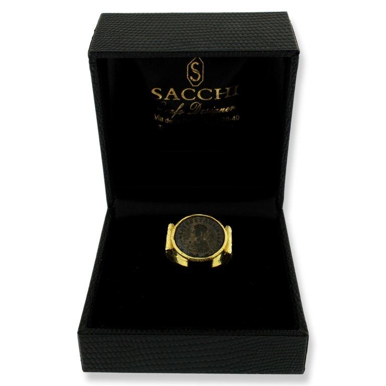 Sacchi Ancient Roman Coin Ring 18 Karat Satin Yellow Band Gold For Sale 2