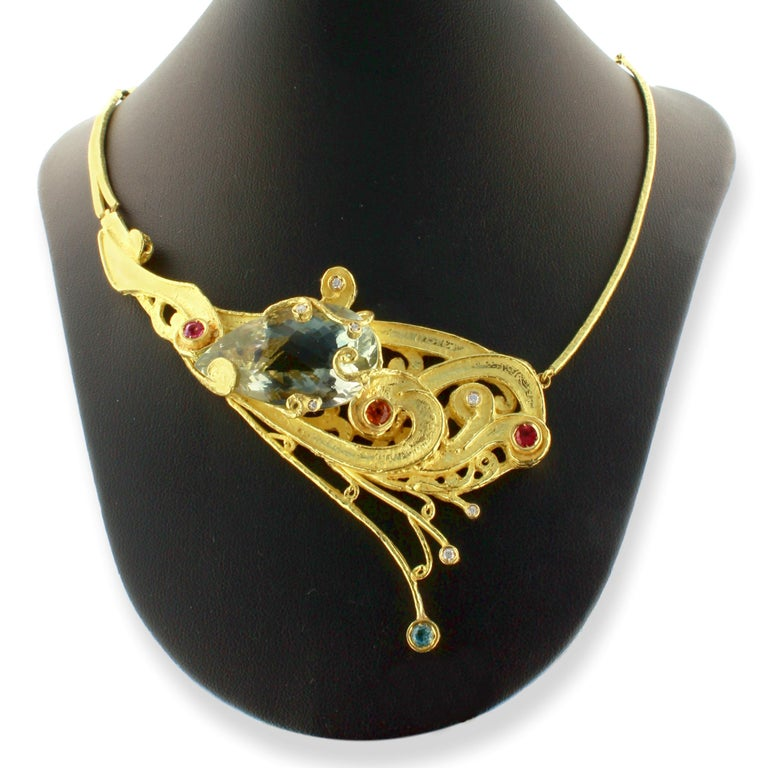 Women's Sacchi One-of-a-Kind Multi-Color Precious Gemstones 18 Karat Gold Necklace For Sale