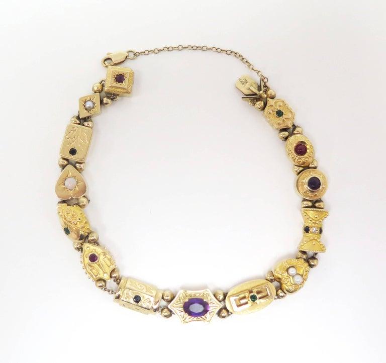 Retro 1950s Multi-Stone Slide Bracelet For Sale