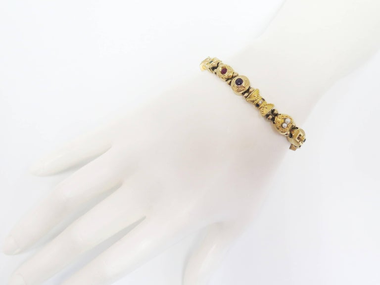 1950s Multi-Stone Slide Bracelet For Sale 4