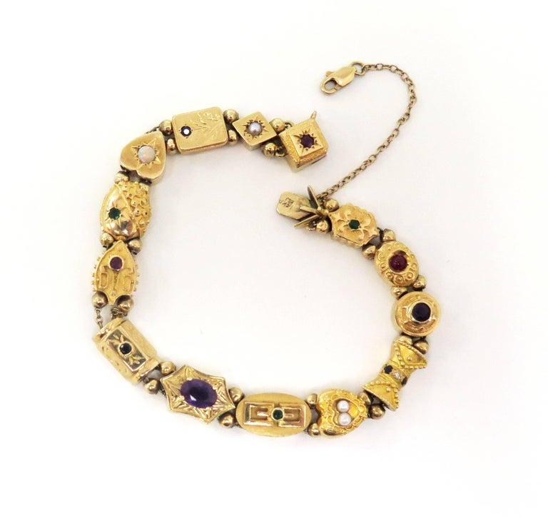 Round Cut 1950s Multi-Stone Slide Bracelet For Sale