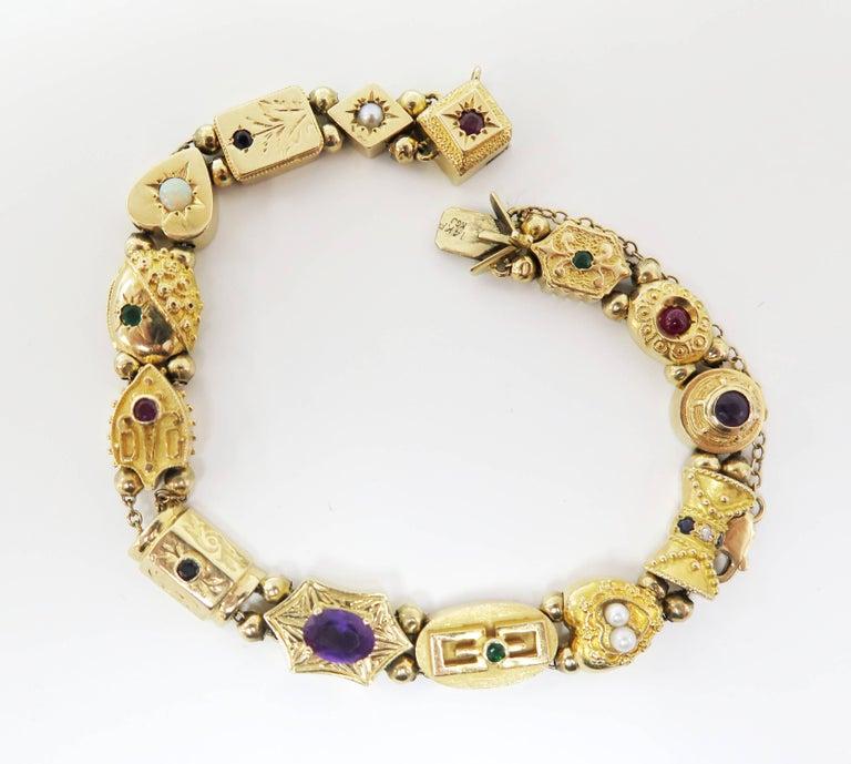 1950s Multi-Stone Slide Bracelet In Good Condition For Sale In Bellmore, NY