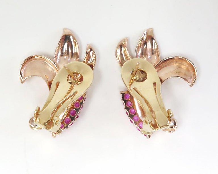 Old Mine Cut 1940s Rose Gold Synthetic Ruby Omega Back Earrings with Two Diamonds, 14 Karat For Sale