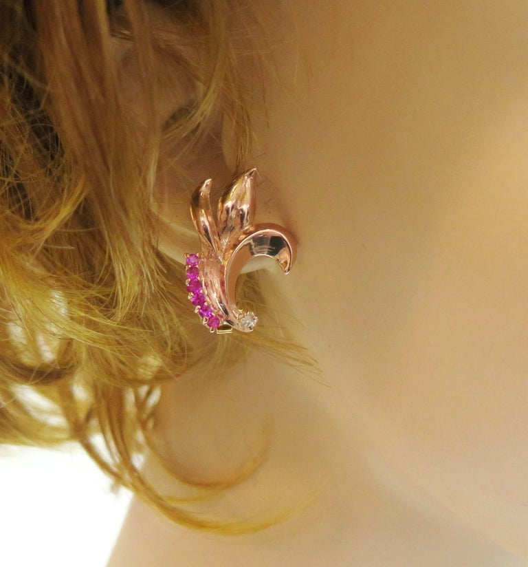 1940s Rose Gold Synthetic Ruby Omega Back Earrings with Two Diamonds, 14 Karat In Excellent Condition For Sale In Bellmore, NY