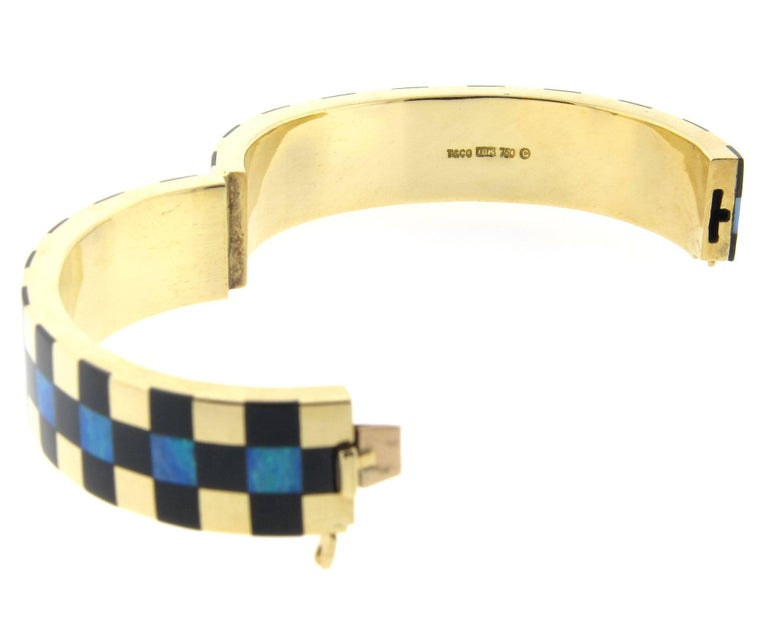 Retro Tiffany & Co. Angela Cummings Opal and Black Jade Bangle Bracelet 18K Yellow For Sale