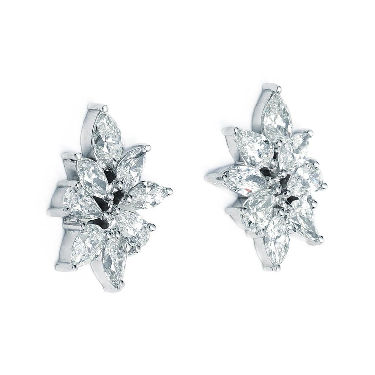 Contemporary Pear and Marquise Diamond Cluster Earrings 7.79 Carat Total Weight For Sale