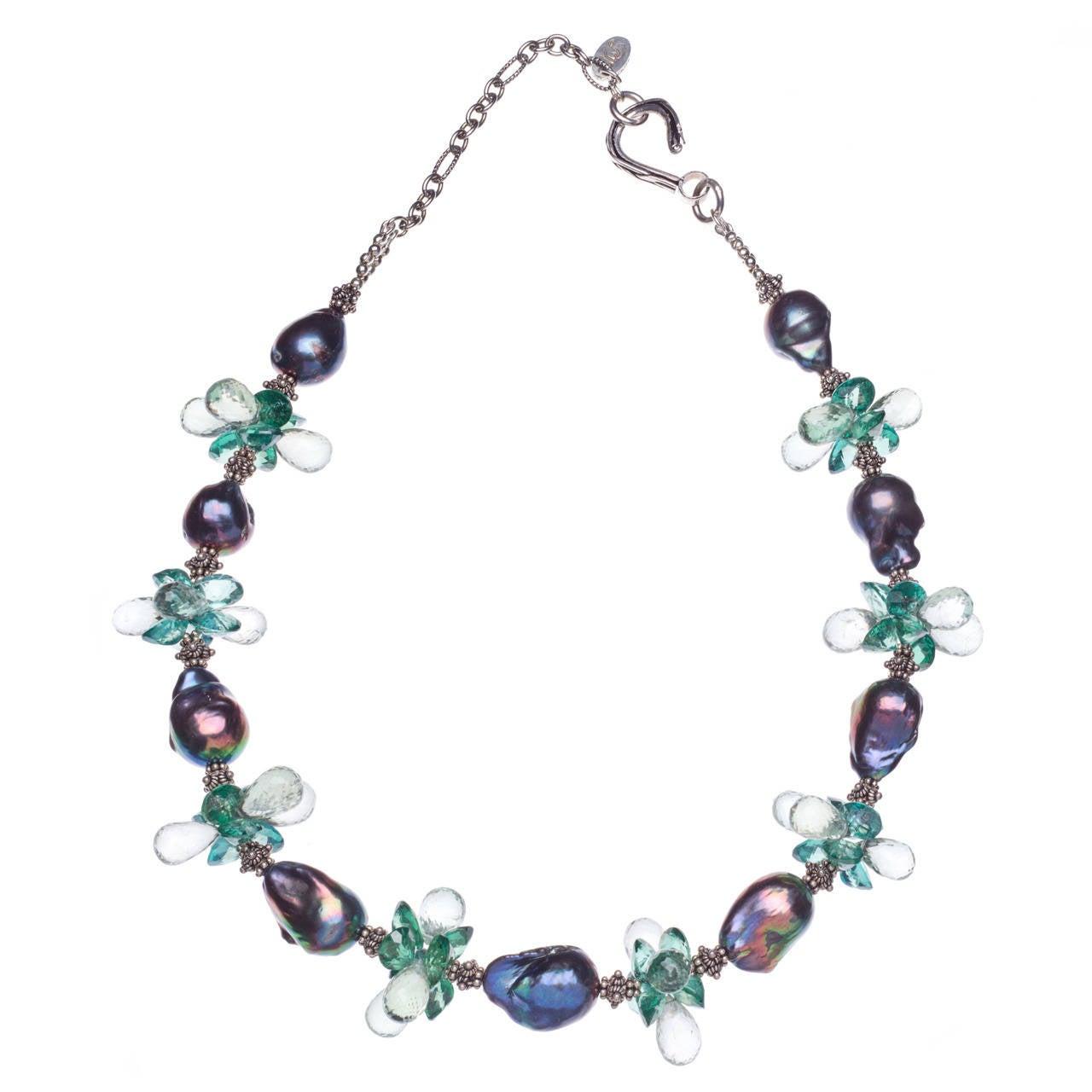 Deborah Liebman Baroque Black Pearl Green Topaz Green Amethyst Silver Necklace