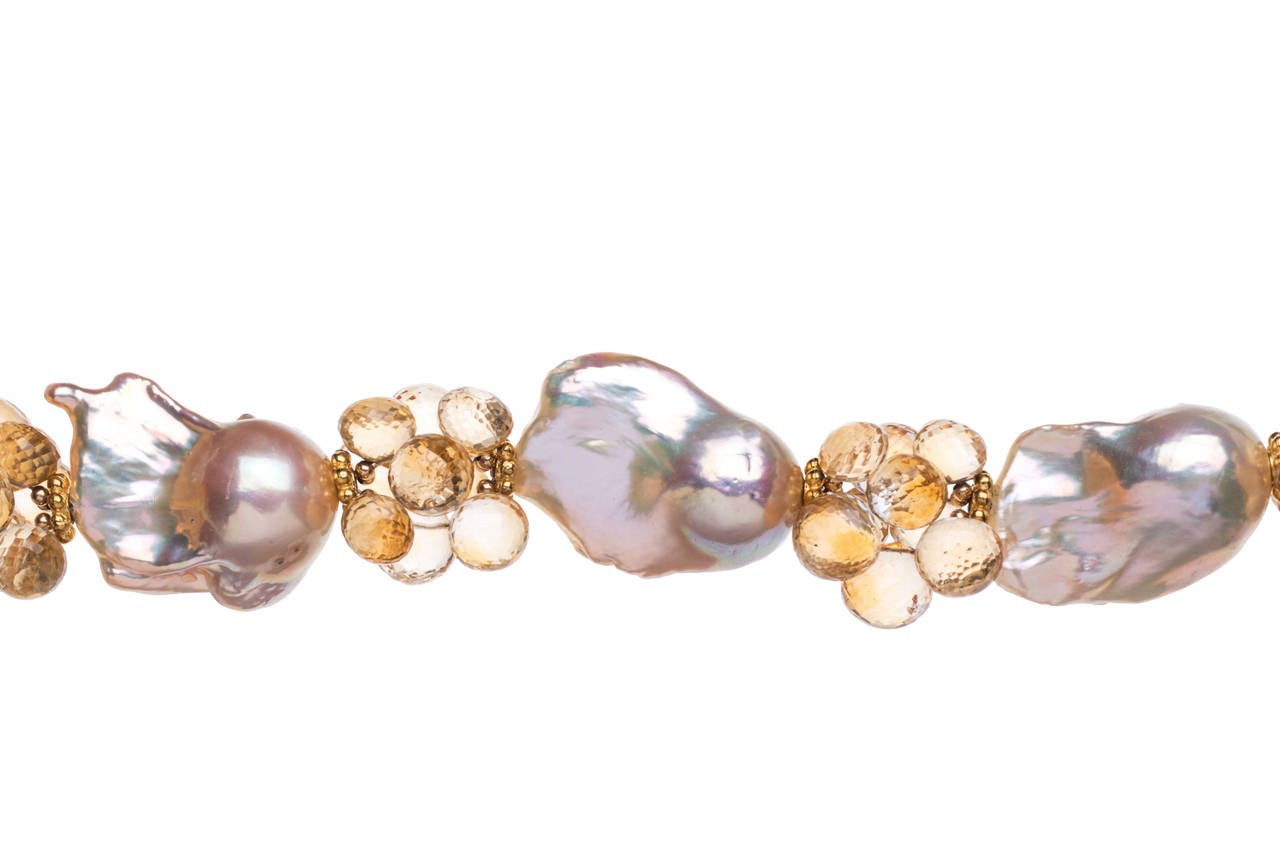 Baroque Peach Pearls Citrine Gold Necklace For Sale At 1stdibs