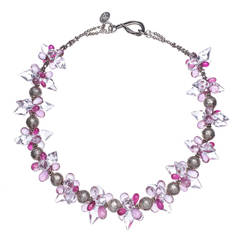 Deborah Liebman Crystal Quartz Pink Topaz Ruby Sterling Silver Necklace