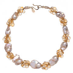 Deborah Liebman Baroque Peach Pearls Citrine Yellow Gold Necklace