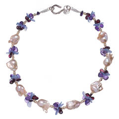 Deborah Liebman Peach Pearl Purple Amethyst Lilac Chalcedony Garnet Necklace