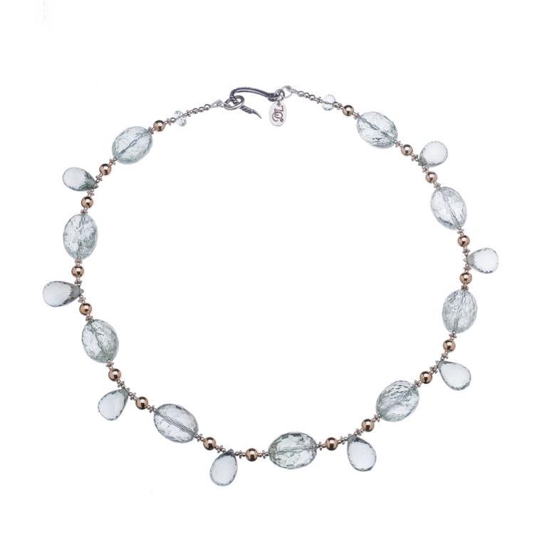 Deborah Liebman Pale Green Amethyst Gold Sterling Silver Necklace