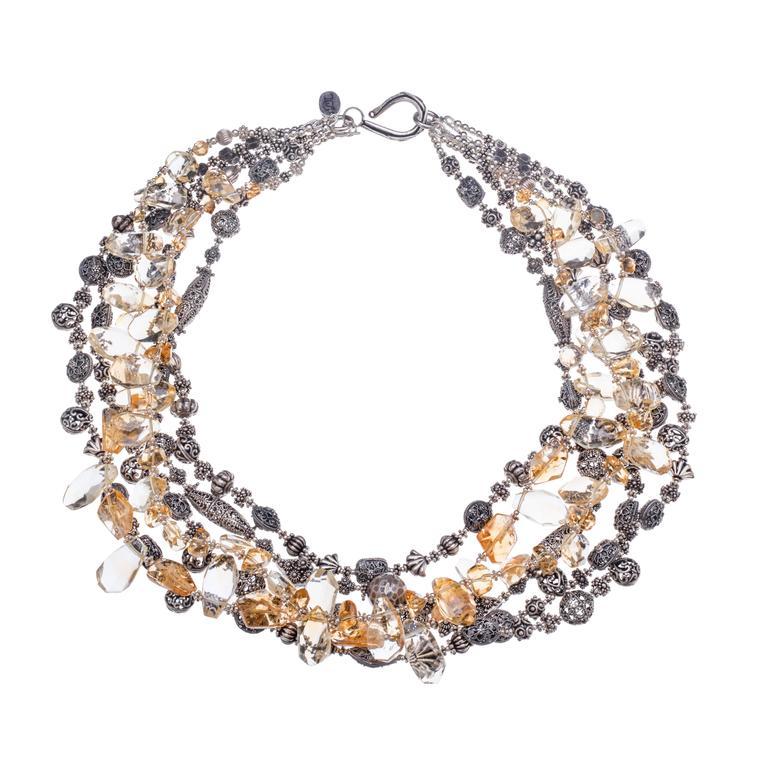 Deborah Liebman Citrine Sterling Multi-Strand Necklace
