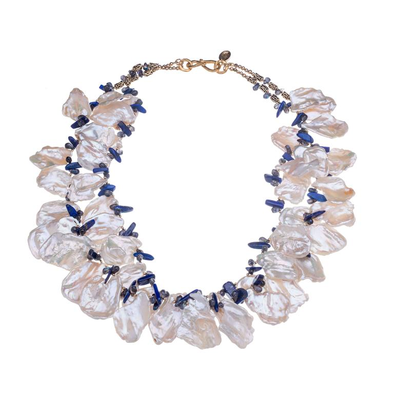 Deborah Liebman Multi-Strand White Pearl Lapis Necklace