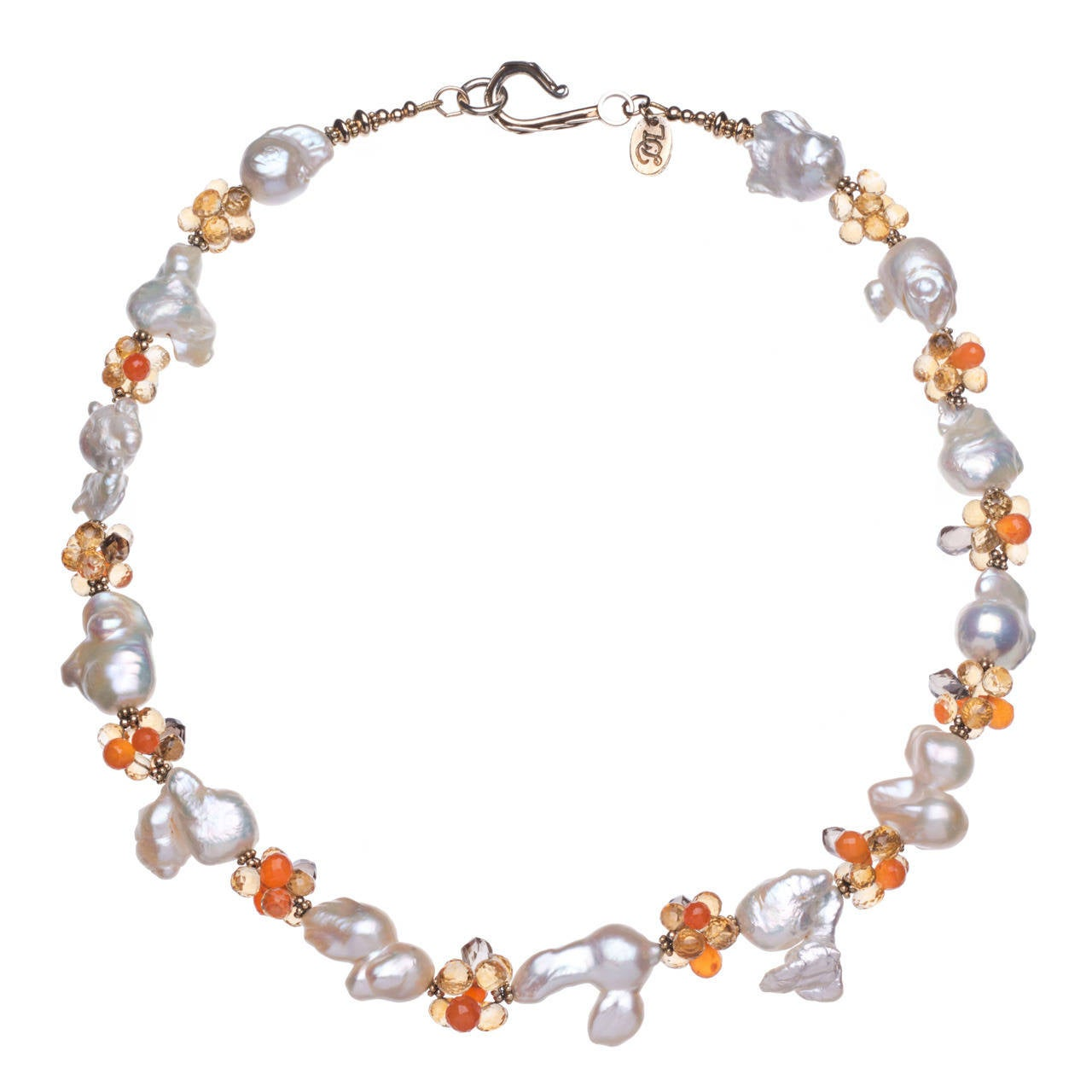 Deborah Liebman White Pearl Citrine Carnelian Smoky Quartz Gold Vermeil Necklace
