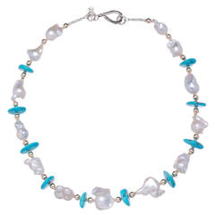 Deborah Liebman White Pearl 'Sleeping Beauty' Turquoise Gold and Silver Necklace