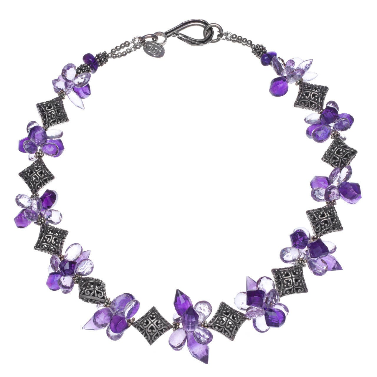 Purple and Pink Amethyst Sterling Silver Pillows Necklace 1