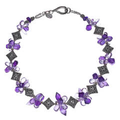 Deborah Liebman Purple Amethyst and Pink Amethyst Sterling Silver Necklace