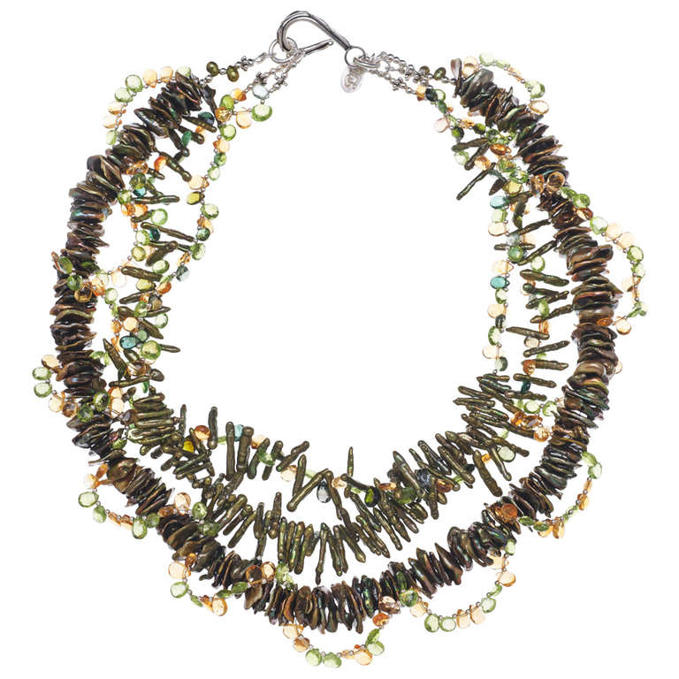 Deborah Liebman Peridot Citrine Tourmaline Pearl Multi-Strand Necklace For Sale