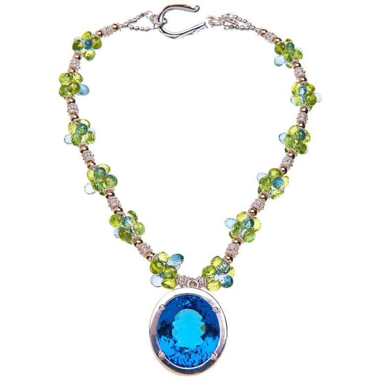 Deborah Liebman 90 Carat Blue Topaz Pendant Peridot Topaz Silver Gold Necklace For Sale