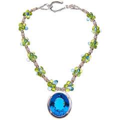 Deborah Liebman 90 Carat Blue Topaz Pendant Peridot Topaz Silver Gold Necklace