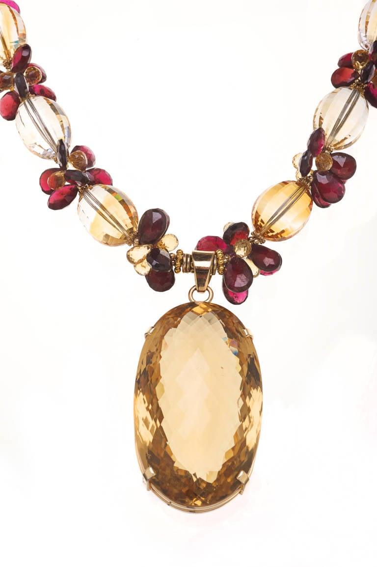 270 Carat Citrine Pendant, Citrine, Garnets and 14K Gold Necklace