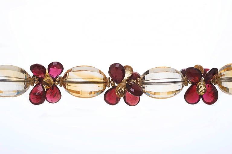Modern Deborah Liebman 270 Carat Citrine Pendant Citrine Garnet Yellow Gold Necklace For Sale