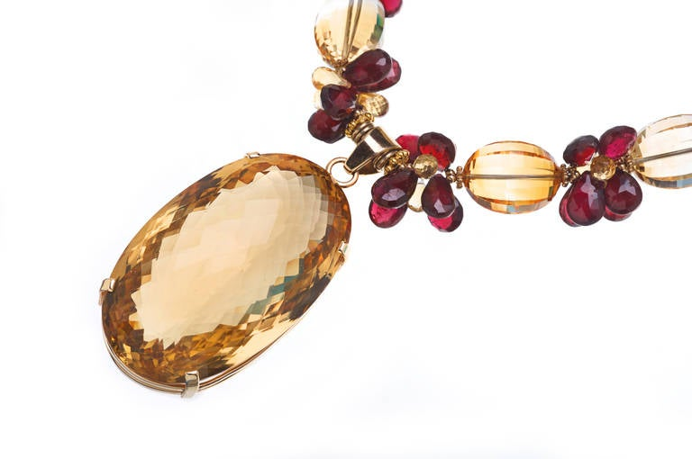 Deborah Liebman 270 Carat Citrine Pendant Citrine Garnet Yellow Gold Necklace In New Condition For Sale In Kansas City, MO