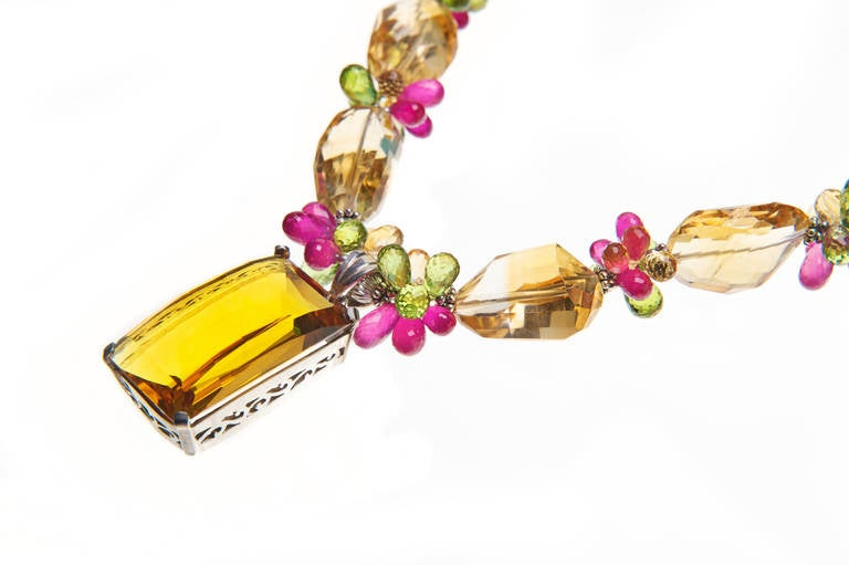 Modern Deborah Liebman 77 Carat Citrine Pendant Ruby Peridot Sterling Silver Necklace For Sale