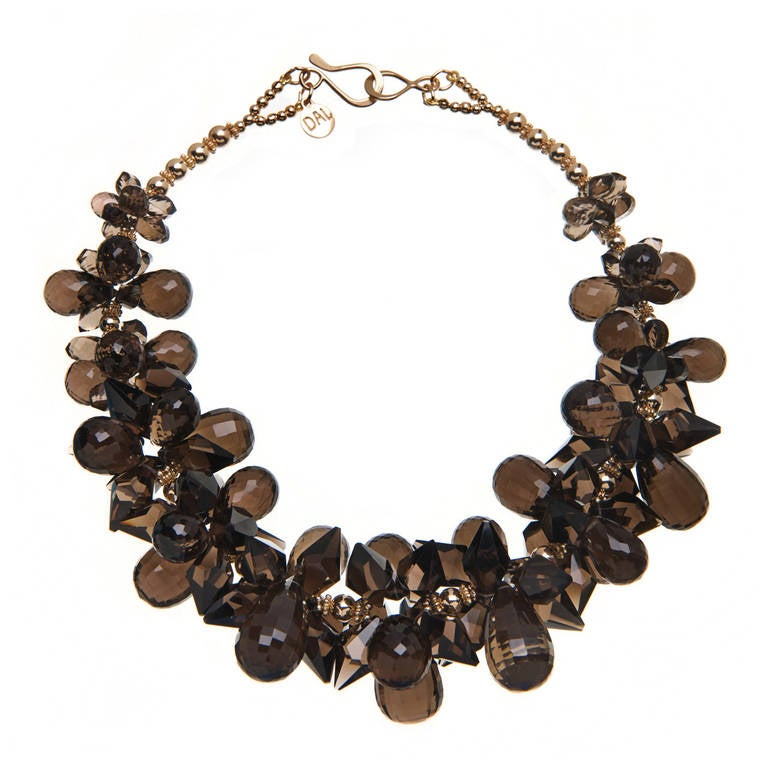 Deborah Liebman Smoky Quartz Yellow Gold Necklace