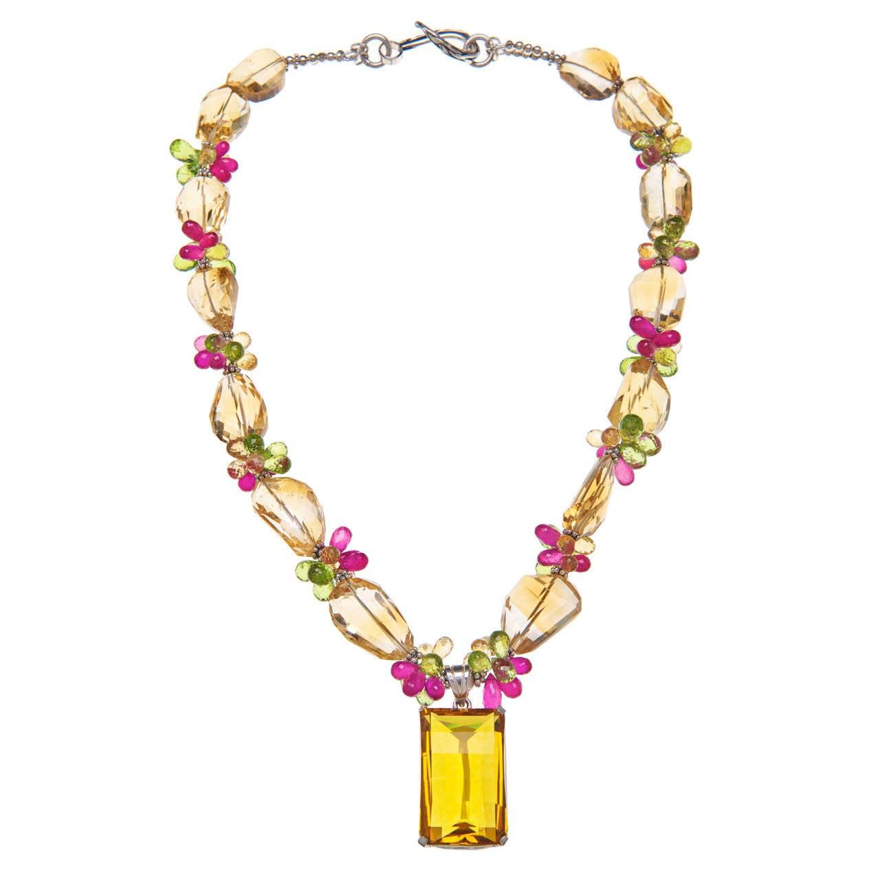 Deborah Liebman 77 Carat Citrine Pendant Ruby Peridot Sterling Silver Necklace