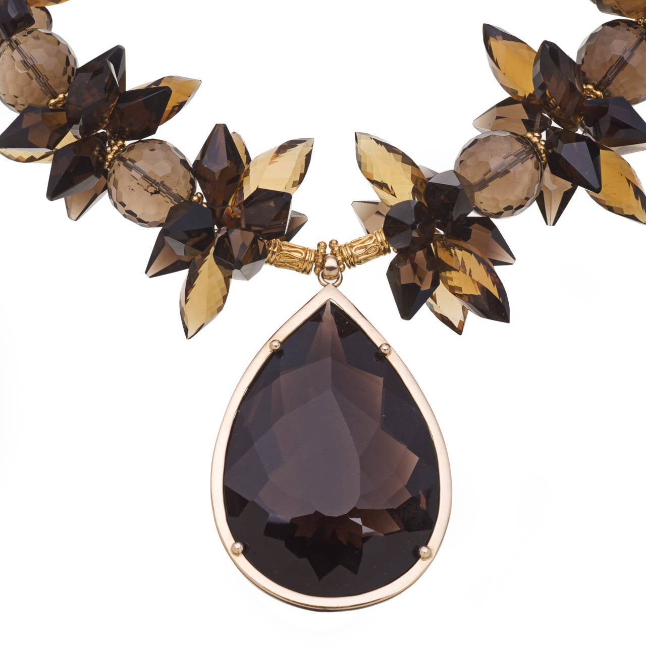 225 Carat Smoky Quartz Pendant Necklace, Whiskey Citrine, Smoky Quartz and 14K Gold