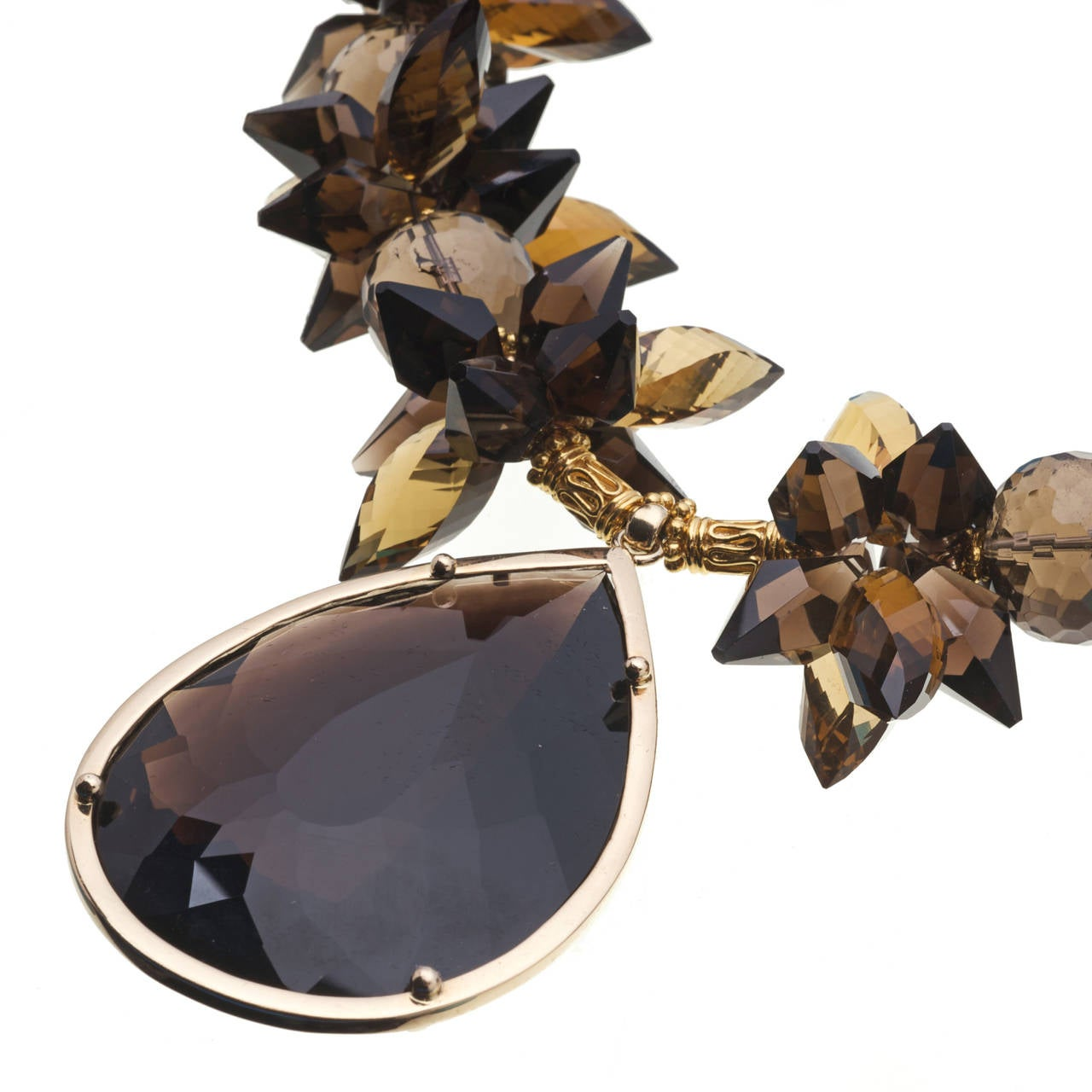 Modern Deborah Liebman 225 Carat Smoky Quartz Pendent Whiskey Citrine Gold Necklace For Sale