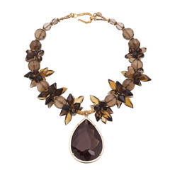 225 Carat Smoky Quartz Whiskey Citrine Gold Pendant Necklace
