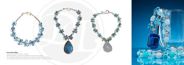 Deborah Liebman Labradorite Aquamarine Blue Topaz Labradorite Sterling Pendant In New Condition For Sale In Kansas City, MO