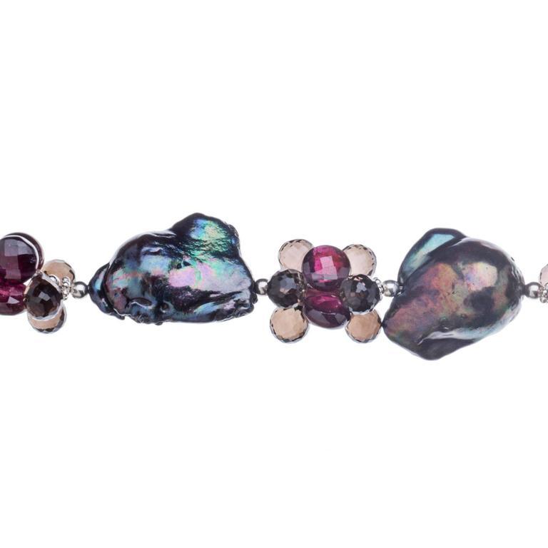 Modern Deborah Liebman Black Pearls Garnet Smoky Quartz Sterling Sliver Necklace For Sale