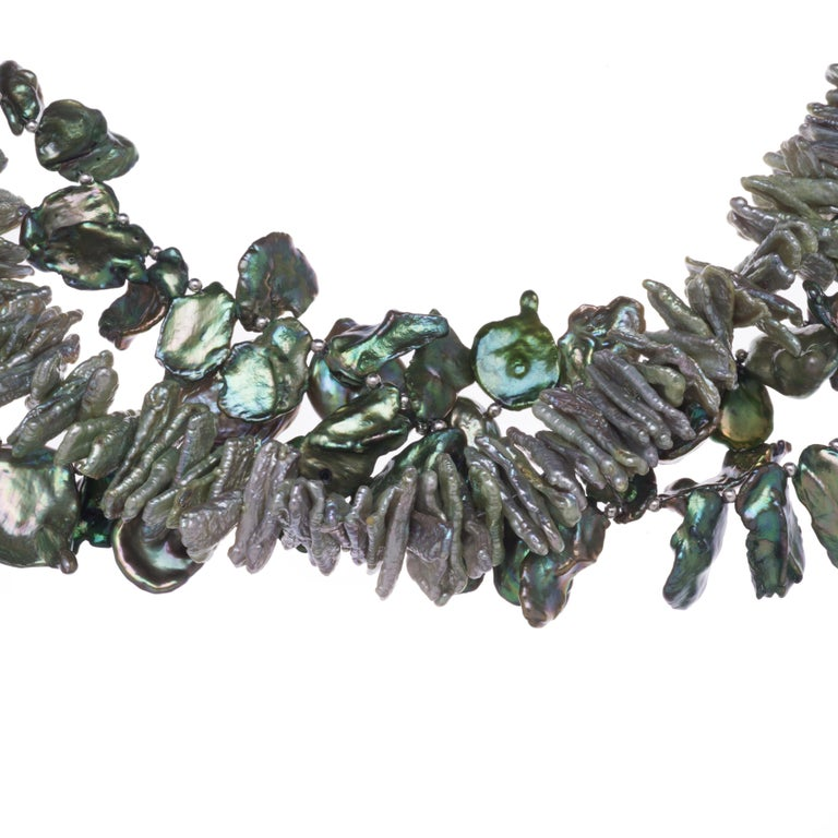 Deborah Liebman Multi-Strand Green Cornflake Pearls Necklace In New Condition For Sale In Kansas City, MO